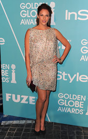 Amanda paired a lovely sequined shift with black embellished pumps.