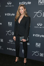 Sophia Rose Stallone kept it super simple in a black pantsuit at the Golden Globes 75th anniversary celebration.
