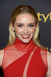 Greer Grammer wore her long hair loose with a center part during the HFPA and InStyle Golden Globe Award season celebration.