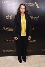 Brooke Shields kept it low-key in a black pantsuit at the Hollywood Reporter's 35 Most Powerful People in Media event.
