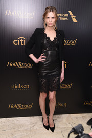 Andreja Pejic looked seductive in black leather and lace at the Hollywood Reporter's 35 Most Powerful People in Media event.