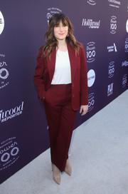 Kathryn Hahn suited up in this cherry-red jacket and pants combo for the Hollywood Reporter's 2017 Women in Entertainment Breakfast.