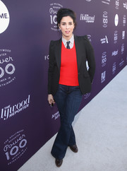 Sarah Silverman was menswear-chic in a black blazer teamed with a red sweater, a pinstriped shirt, and a necktie at the Hollywood Reporter's 2017 Women in Entertainment Breakfast.