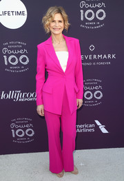 Kyra Sedgwick was hard to miss in her hot-pink pantsuit at the Hollywood Reporter's 2017 Women in Entertainment Breakfast.