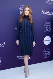 Kate Walsh looked perfectly chic for cold weather in a striped blue sweater dress by Akris at the Hollywood Reporter's 2017 Women in Entertainment Breakfast.