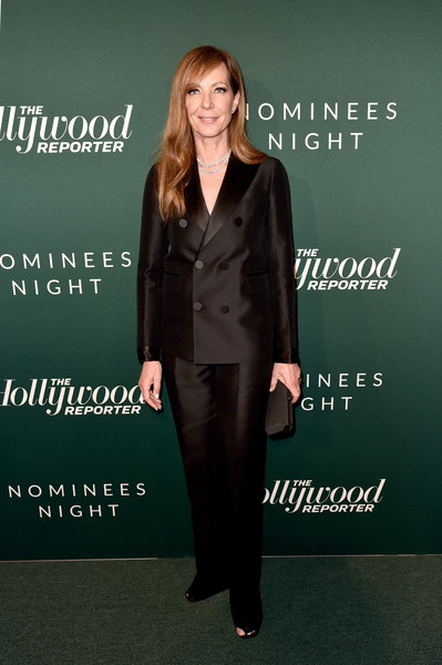 Allison Janney went for a sleek menswear-inspired look with this double-breasted pantsuit by Dsquared2 at the Hollywood Reporter Nominees Night.