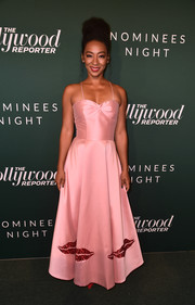 Betty Gabriel was sweet and feminine in a pink Sachin & Babi gown with spaghetti straps and a lip-embellished skirt at the Hollywood Reporter Nominees Night.