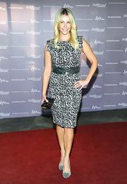 Chelsea Handler wore a black and white print dress with a leather belt for the 'Women in Entertainment Breakfast.'