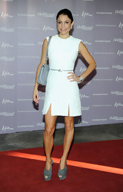 Bethenny Frankel was on trend for fall in gray seuede platform heels.