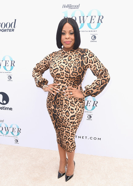 Niecy Nash looked incredibly curvy in a body-con leopard-print dress from Meow and Barks Boutique at the Hollywood Reporter's Women in Entertainment Breakfast.