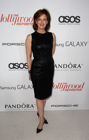 Anne Sweeney chose a simple yet sophisticated leather LBD for the Hollywood Reporter Emmy party.
