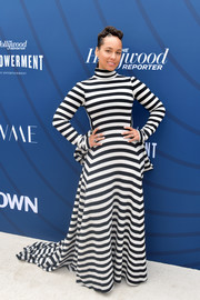 Alicia Keys looked striking in a boldly striped turtleneck gown by Marc Jacobs at the Hollywood Reporter's Empowerment in Entertainment event.