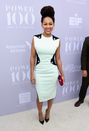 Meagan Good chose a mint-green sheath with shape-enhancing black panels and gold buttons for her Women in Entertainment Breakfast look.