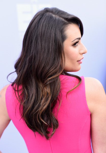 More Pics of Lea Michele Long Wavy Cut with Bangs (4 of 11) - Long Wavy Cut with Bangs Lookbook - StyleBistro []