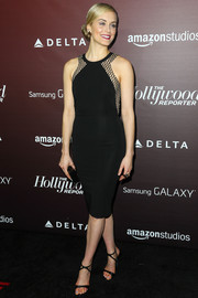 Taylor Schilling's minimalist-chic sandals and LBD were a super-sophisticated pairing.
