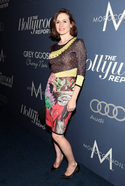 Emily Mortimer added some pizazz to the Oscar nominees luncheon in Hollywood in this wild print dress.