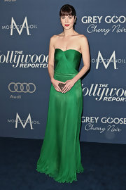 Mary Elizabeth Winstead wore this romantic strapless green gown to the Oscar nominees luncheon in Hollywood.