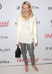 Naomi Watts wore metallic silver, skinny pants at the Hollywood Reporter Nominees' Night event.
