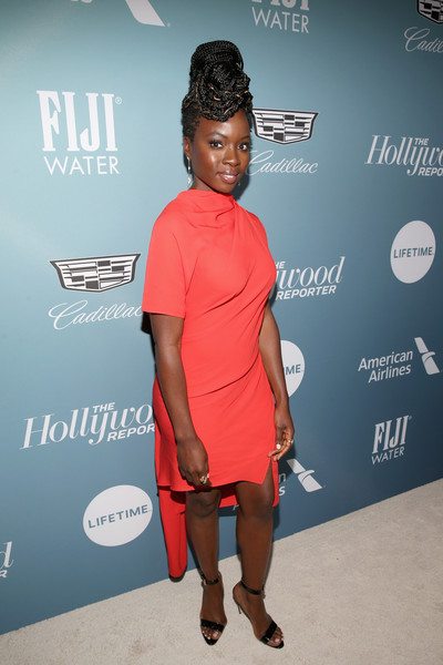 Danai Gurira looked stylish in a high-neck red cocktail dress at the Hollywood Reporter's Power 100 Women in Entertainment event.
