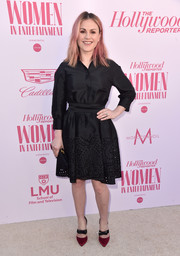 Anna Paquin charmed in a black laser-cut shirtdress by Monique Lhuillier at the Hollywood Reporter's Power 100 Women in Entertainment celebration.