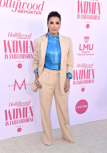 Eva Longoria teamed an ecru  Victoria Beckham pantsuit with a sky-blue shirt for the Hollywood Reporter's Power 100 Women in Entertainment celebration.