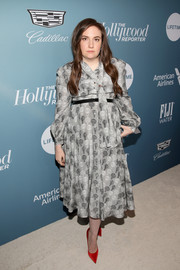 Lena Dunham went the ladylike route in a long-sleeve gray print dress at the Hollywood Reporter's Power 100 Women in Entertainment event.