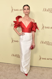 Angela Sarafyan looked ultra chic in a sculptural two-tone off-the-shoulder gown by Vika Gazinskaya at the Hollywood Reporter and SAG-AFTRA Emmy nominees night.