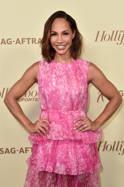 More Pics of Amanda Brugel Print Dress (1 of 3) - Amanda Brugel Lookbook - StyleBistro [the hollywood reporter,clothing,pink,cocktail dress,dress,fashion,hairstyle,beauty,long hair,magenta,shoulder,nominees,reporter,contenders,arrivals,contenders,amanda brugel,celebrate emmy award,hollywood,sag-aftra]