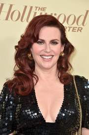 Megan Mullally showed off a glamorous curly 'do at the Hollywood Reporter and SAG-AFTRA Emmy nominees night.