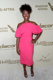 Samira Wiley sported a Christian Siriano cold-shoulder dress in a striking hot-pink hue at the Hollywood Reporter and SAG-AFTRA Emmy nominees night.