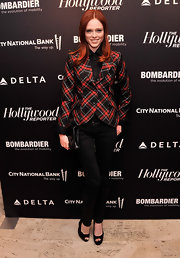 A plaid blazer gave Coca Rocha a cool and punk-inspired evening look.