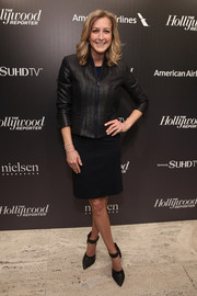 Lara Spencer paired a shiny black cropped jacket with an LBD for the 35 Most Powerful People in Media event.