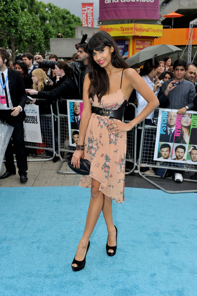 Jameela Jamil balanced her sweet floral frock with a black leather waist belt and matching peep-toe platforms at the UK premiere of 'Horrible Bosses.'