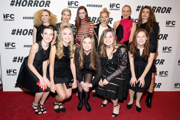 More Pics of Lydia Hearst Metallic Clutch (1 of 6) - Lydia Hearst Lookbook - StyleBistro [horror,social group,event,premiere,little black dress,carpet,fashion,flooring,dress,red carpet,style,natasha lyonne,tara subkoff,blue lindeberg,chloe sevigny,back row,l-r,front row,new york premiere,premiere]