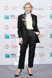 Cate Blanchett was androgy-glam in an embellished black tuxedo by Acne Studios at the Rome Film Fest photocall for 'The House with a Clock in Its Walls.'