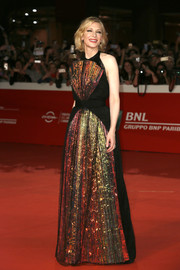 Cate Blanchett looked stunning, as always, in an iridescent halter gown by Maison Margiela Couture at the Rome Film Fest screening of 'The House with a Clock in Its Walls.'