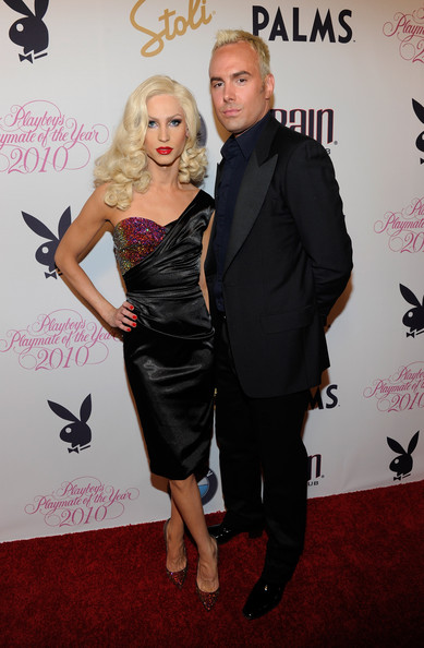 Phillipe Blond showed off a satin and bejeweled cocktail dress while hitting a Playboy event in Las Vegas.
