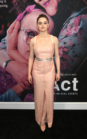 Joey King finished off her look with a pair of embellished PVC pumps by Jimmy Choo.