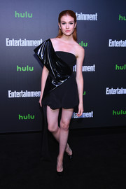 Katherine McNamara attended Hulu's New York Comic Con after-party wearing a black one-shoulder romper.