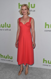 Gretchen Mol was classic and sexy in a red corset dress while attending the Hulu TCA Summer Press Tour.