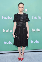 Alexis Bledel chose a black knit dress with white dots for the 2018 Hulu Upfront.