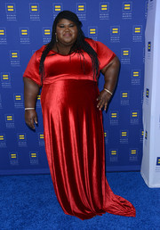 Gabourey Sidibe oozed elegance in a red velvet evening dress at the Human Rights Campaign Los Angeles Gala.
