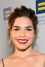 America Ferrera wore her hair in a messy-glam updo at the Human Rights Campaign 2017 Gala.
