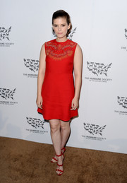 Kate Mara chose a red A-line mini dress with a studded yoke for the Humane Society of the United States' To The Rescue Gala.