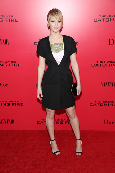 More Pics of Jennifer Lawrence Pixie (1 of 41) - Jennifer Lawrence Lookbook - StyleBistro [the hunger games: catching fire,red,little black dress,fashion model,flooring,dress,shoulder,carpet,fashion,cocktail dress,joint,new york special screening - outside arrivals,jennifer lawrence,screening,new york city]