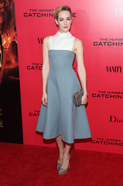 Jena Malone charmed in a '50s-inspired blue and white dress by Valentino during the 'Catching Fire' NYC premiere.