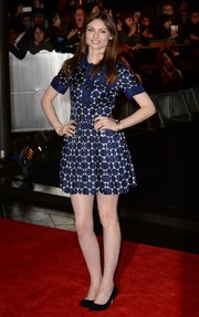 Sophie Ellis-Bextor looked youthful in a blue polka-dot mini dress during the 'Catching Fire' London premiere.