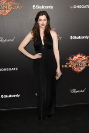 Katie McGrath oozed sex appeal in a slinky black V-neck gown at the 'Hunger Games' cast party in Cannes.