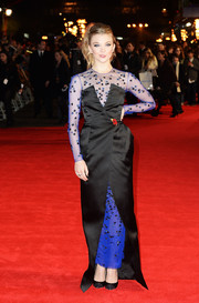 Natalie Dormer was a goth beauty in a blue and black Nicholas Oakwell Couture gown, featuring a sheer, beaded underlay, during the 'Mockingjay' London premiere.