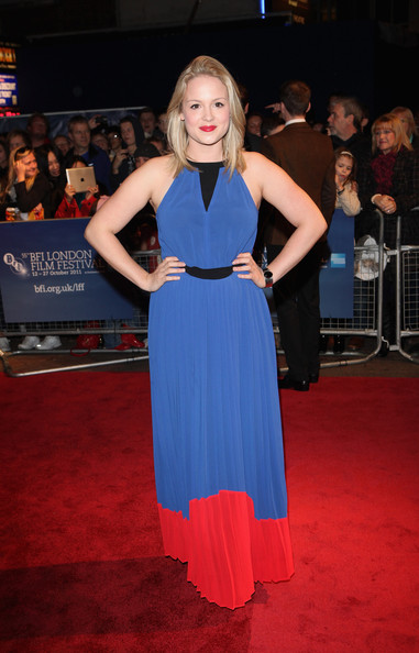 Kimberley Nixon wore a floor-sweeping pleated color-block gown to the London Film Festival for the premiere of 'Hunky Dory.'